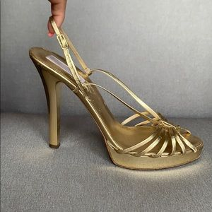 MICHAEL KORS Gold Strappy Slingback Sandal Heels